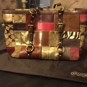 Authentic Coach Brown Patchwork Bag